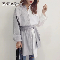TWOTWINSTYLE Belt Striped Shirt Female Patchwork Lapel Collar Single Breasted High Waist Asymmetrical Blouse Spring Fashion