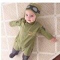Estilo do inverno do bebê recém-nascido bodysuits chapéu vôo link verde do exército macacões roupas roupas das crianças para meninos