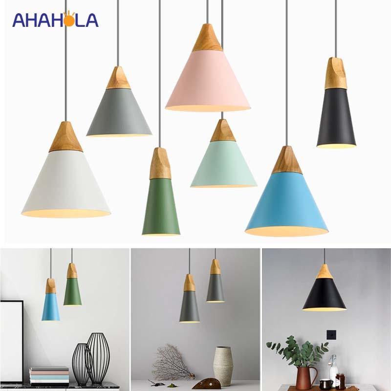 E27 Wood Loft Pendant Lamp Modern Nordic Pendant Lights Modern Nordic Lamp Pendant Light Lamparas De Techo Colgante Moderna