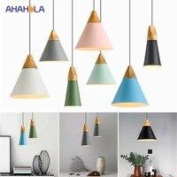 E27 loft de madeira pingente lâmpada moderna nordic luzes pingente moderno nordic lâmpada pingente luz lamparas techo colgante moderna|Luzes de pendentes| |  -