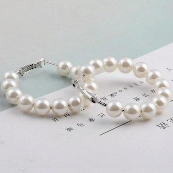 New Pearl Hoop Earrings for Women Pearl Circle Earrings Fashion Jewelry 1