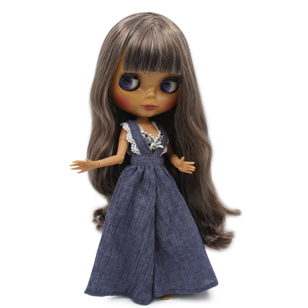 1 6 Nude blyth doll joint Azone body brown mix gray hair dark skin fashion 30cm