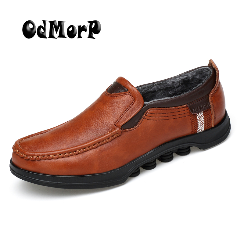 ODMORP Winter Shoes Men Leather Shoes Warm Fur Formal Business Casual Leather Loafers Moccasins Handmade Shoes Size 48 cbjsho brand men shoes 2017 new genuine leather moccasins comfortable men loafers luxury men s flats men casual shoes