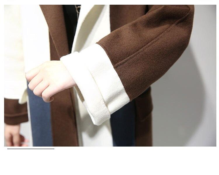 Femmes 2018 Laine Moyen hiver Nouveau Pardessus Taille Longue Contraste Kaki Automne Pour Vêtements Marchandises 80004 Long De Couture Couleur fn41P
