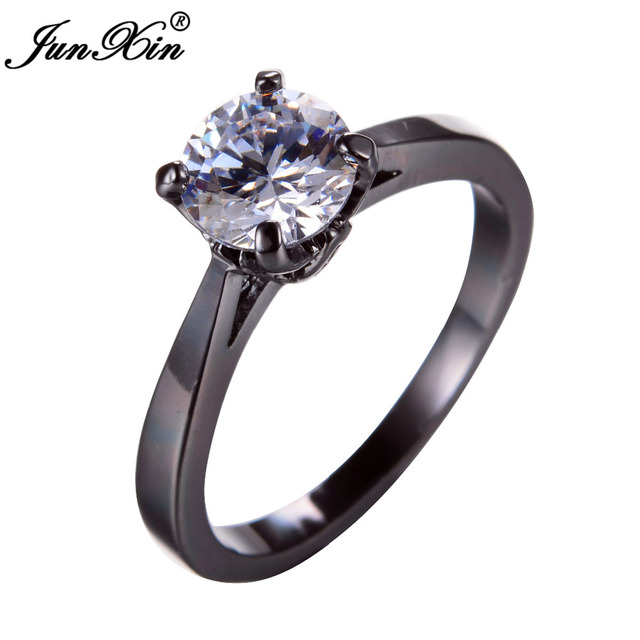 JUNXIN Women White Engagement Ring Black Gold Simulated CZ Vintage