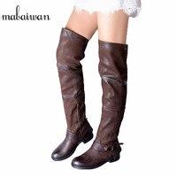 Mabaiwan Модные женские туфли ручной работы; военные ботинки с высоким голенищем, до колена, из натуральной кожи; женские мотоциклетные ботинки