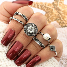 Neue Vintage Midi Ring Sets Carving Fingerringe für Frauen Lotus Blume Knuckle Ring Set Für Frauen Anillos Mujer Schmuck(China)