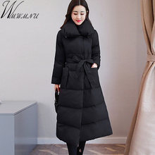 купить Wmwmnu winter coat women 2017 New parka slim Jacket fashion belt Cotton Padded long Coats Warm Winter Jacket Female Outerwear по цене 3898.51 рублей