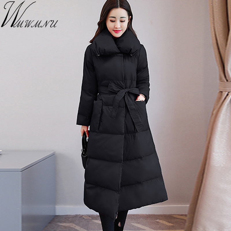Wmwmnu winter coat women 2017 New parka slim Jacket fashion belt Cotton Padded long Coats Warm Winter Jacket Female Outerwear