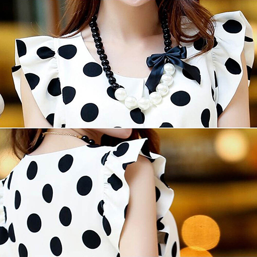 Hot Women Summer Casual Polka Dot Round Neck Short Sleeve Shirt Top Chiffon Blouse 4