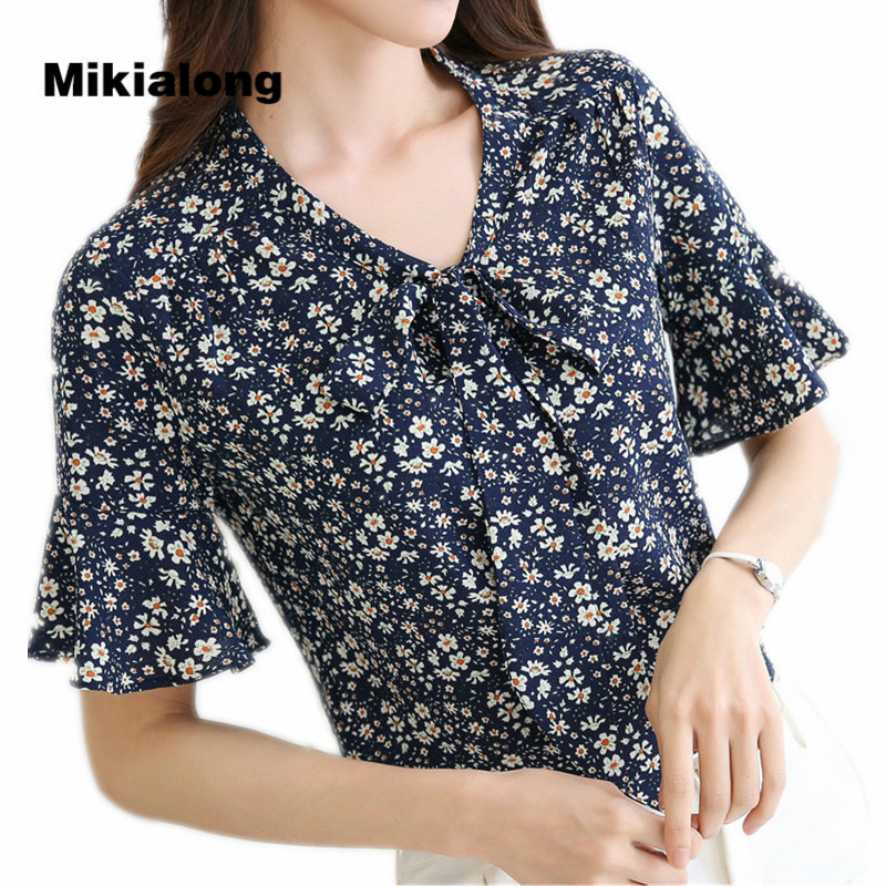 Mikialong 2017 verano floral gasa blusa mujeres flare manga tops mujer elegante