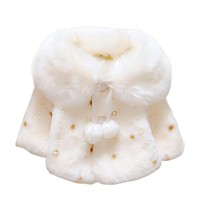 Sonbahar Kış Bebek Kız Bebek Polar Faux Fur İnci Boncuklu topu Pelerin Pelerin Çocuk Ceket Kaban Hırka Dış Giyim 0-3Y 2017 yeni