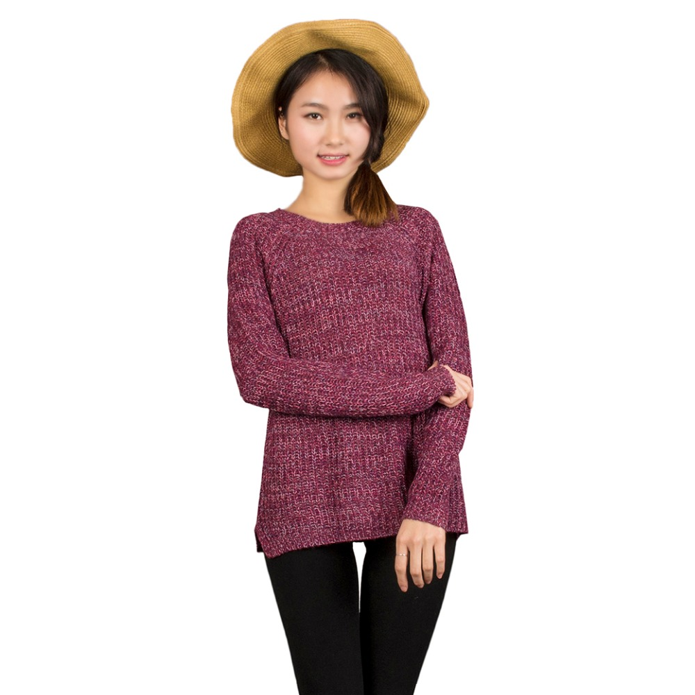 d35291c73c3 Spring Autumn Women Mixed Color Wool Plus Size Oversized Loose Knitted  Pullover Jumper Sweater O Neck Long Sleeve Fashion Dress-in Pullovers from  Women s ...