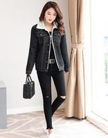2017 Winter New Cashmere Thickened Cowboy Jacket Ladies Coat Lapel Long Sleeve Korean Slim Was Thin