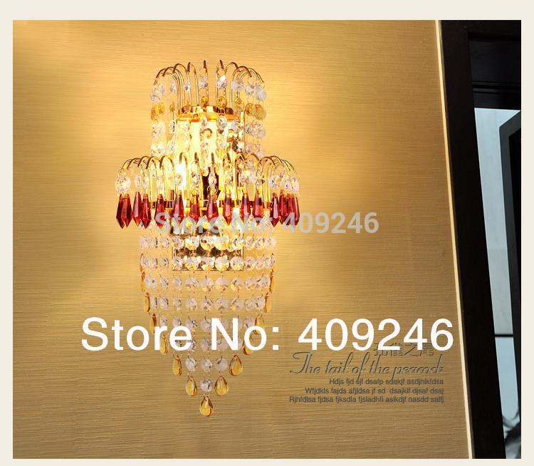 A Grade K9 European-style luxury crystal wall lamp sitting room dining-room golden wall lamp of bedroom brass buckle titanium plate gold crystal wall lamp k9 crystal sitting room bedroom mirror light