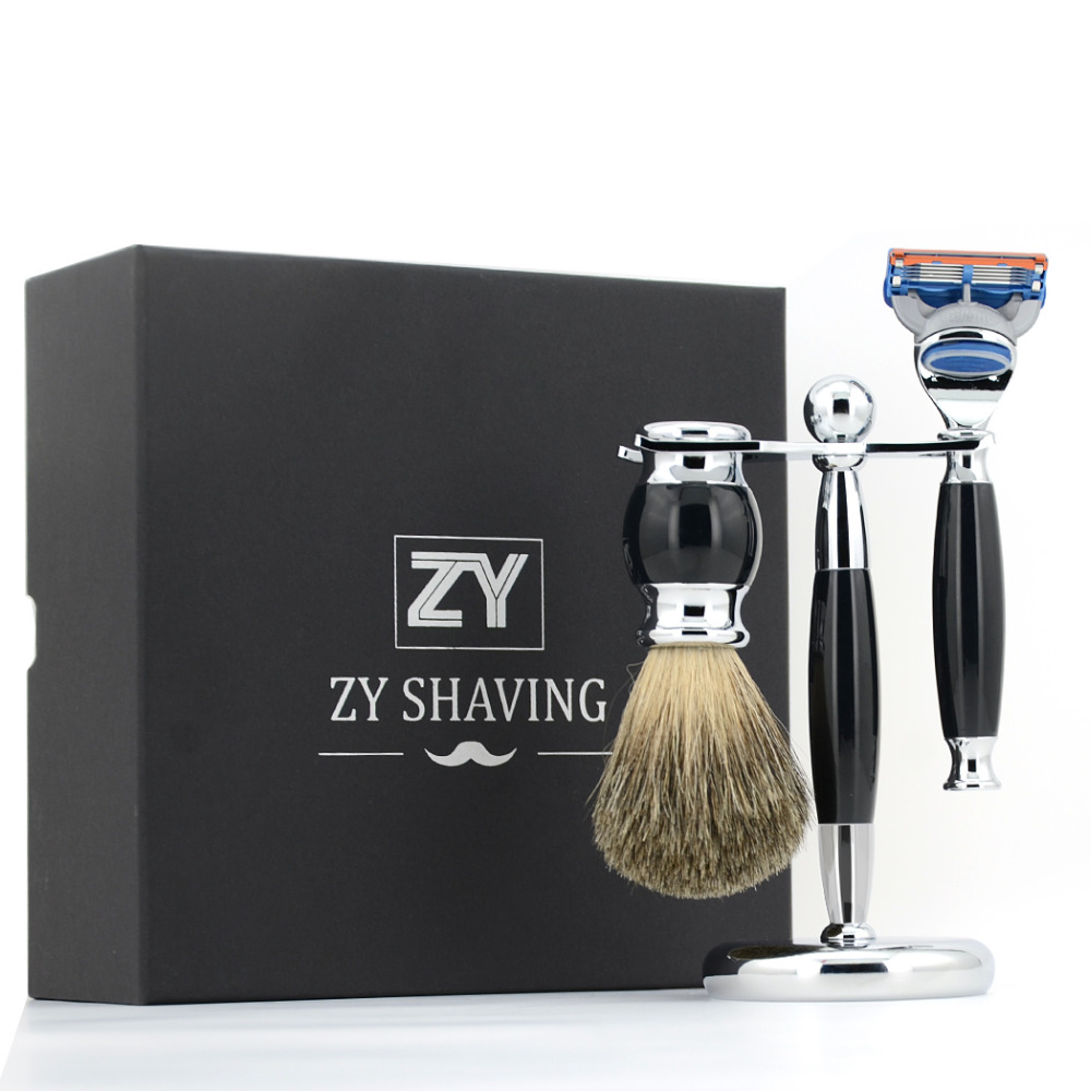 ZY Classic 3 / 5 Doube Edge Safety Blade Razor Shaving Set Pure Badger Hair Shave Beard Brush  Alloy Stand Holder Men Best Gift verawood wood pure badger shaving brush and de safety razor set