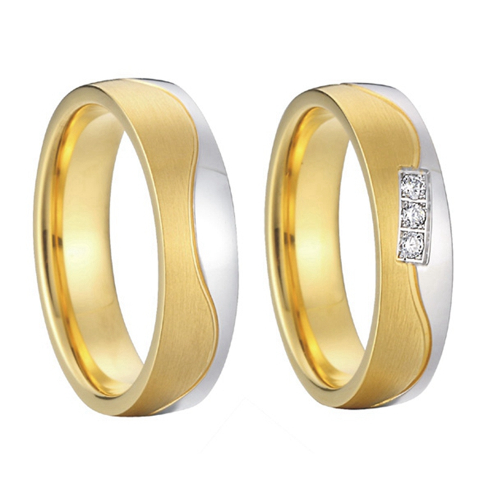 beautiful private new design gold colour alliances anel engagement wedding bands promise rings sets for couples new arrival china wholesaler brushed and polishing cz stone beautiful gift for women couples promise wedding band rings