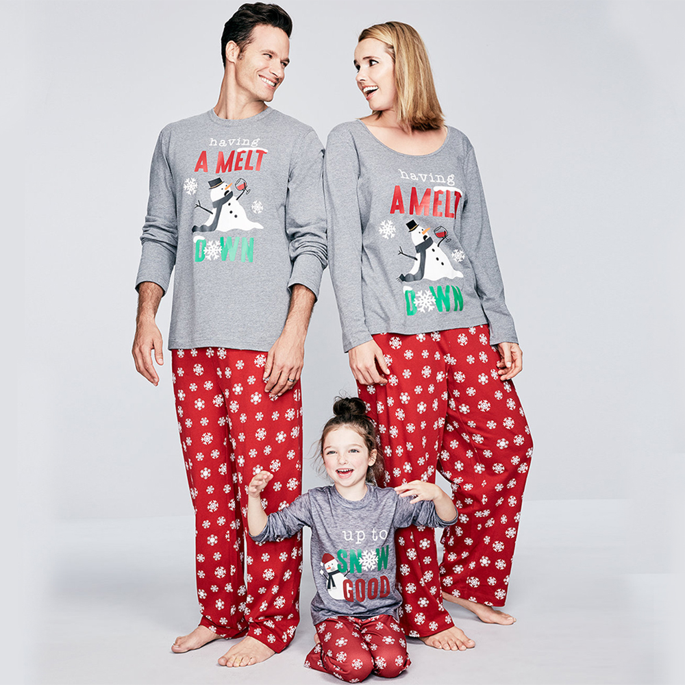 Christmas Parent-child Suit Printed Cartoon Pajamas Sleepwear Casual Long Sleeve Home Wear Winter Warm Family Set Nightwear