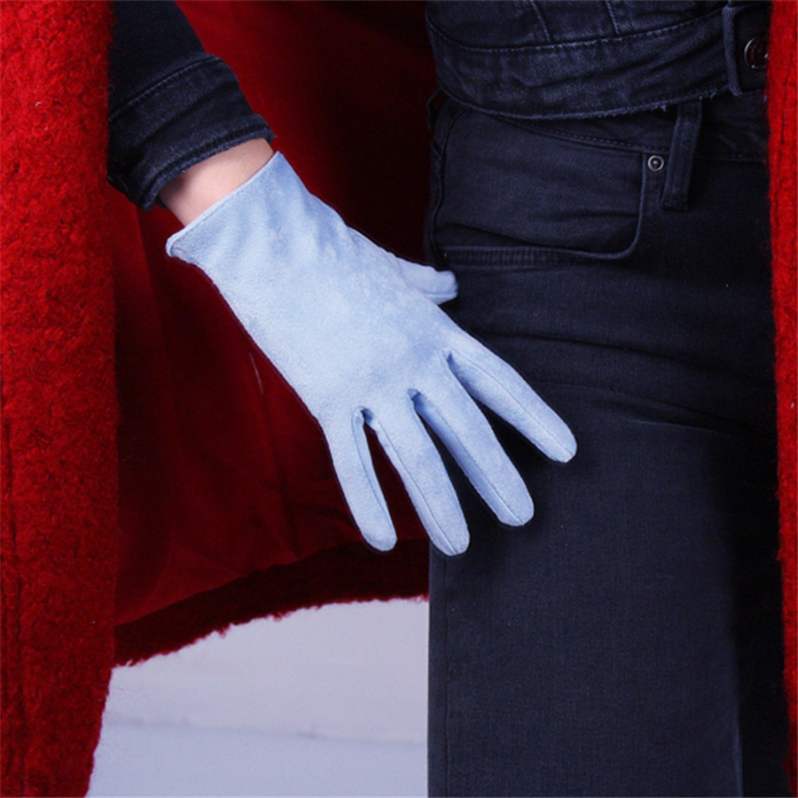 Women Short Style Fashion Ladies Gloves Suede Matte Suede Fleece Simulation Leather Without Lined  3-TB33