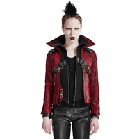 Punk Red Leather Short Coat Gothic Women Stand Collar Slim Fit Jacket Coat Mortorcycle Long Sleeve Casual Jacket