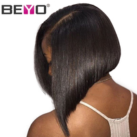 Beyo Glueless Short Bob Wigs Brazilian Straight Hair Deep Part Lace Front Human Hair Wigs For Black Women Non Remy 13x6 Lace Wig