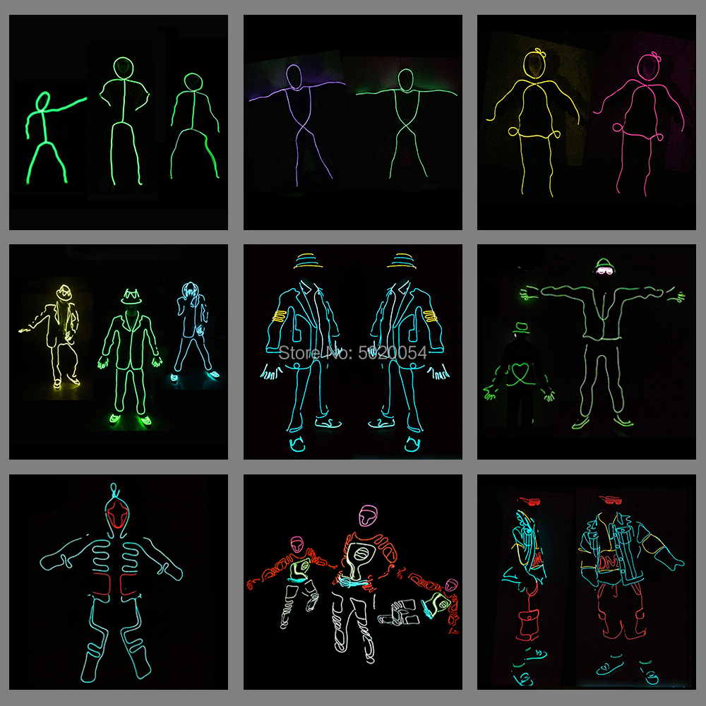 12 Design Flexible EL Wire Glowing Costume Dance DJ Neon Led Luminous Clothing Light Up Costume For Stage Show
