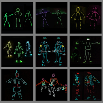 12 Design Flexible EL Wire Glowing Costume Dance DJ Neon Led Luminous Clothing Light Up Costume For Stage Show top selling el cable rope explorer design clothes led strip neon light stylish luminous costume for carnival new years day decor