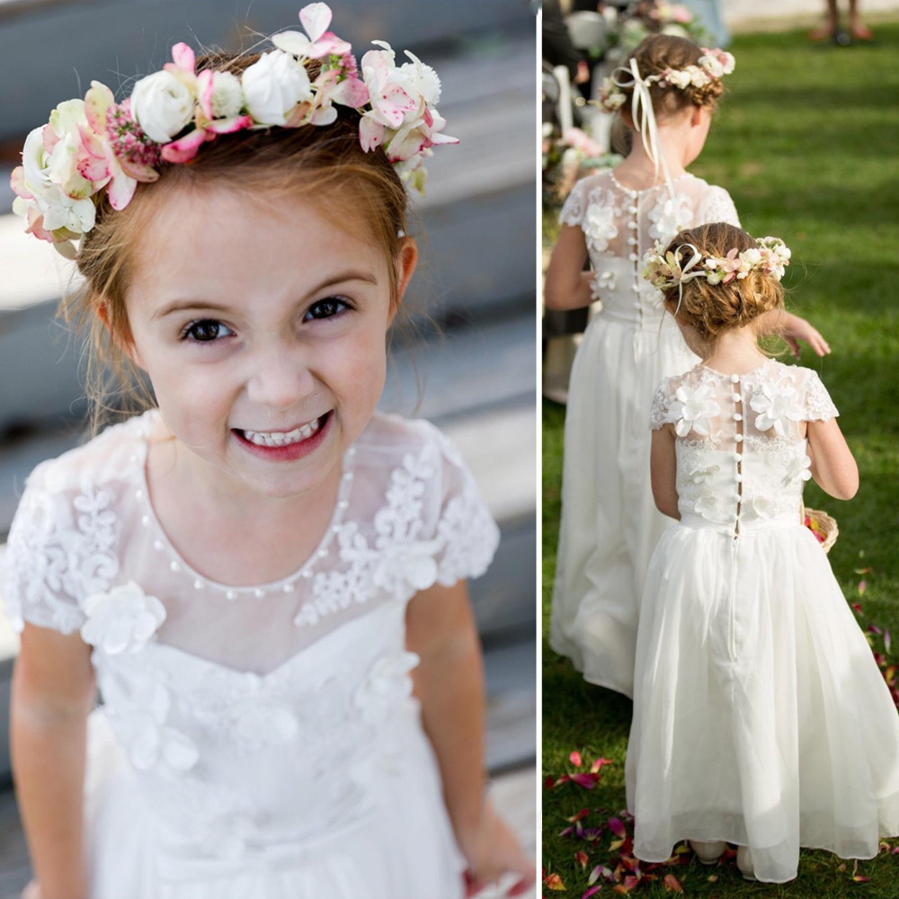 New Arrivals   Girls     Dress   Lace with Cap Sleeve Chiffon O Neck   Flower     Girls     Dress   First Communion   Dresses   Pageant Gown White Ivory