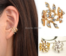 1Pair Punk Rock Retro Earring Crystal Leaf Ear Cuff Warp Clip Earrings for Women Jewelry Earcuff Party