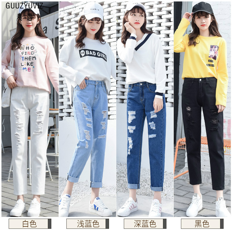 Guuzyuviz Vintage Casual Autumn Winter Jeans Woman Scratched Washed Cotton High Waist Patch Work Denim Pants Mujer Strong Packing Jeans