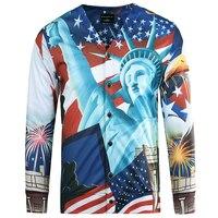 3D Statue Of Liberty Baseball Jacket Men America Flag Printed Mens Jackets And Coats Brand Cardigan