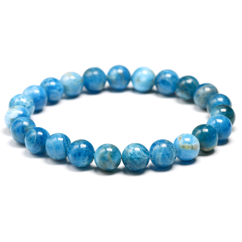 Natural Ocean Blue Apatite Stone Stone 6mm 8mm 10mm Beads Bracelet Women Men Meditation Jewelry Round Gem Beaded Bracelets Gift