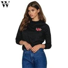 Womail mujeres Tops moda Rosa floral imprimido Sudaderas señora o-cuello de manga  larga Camisas applique rojo rosa negro Sudader. 16ebb4484ac