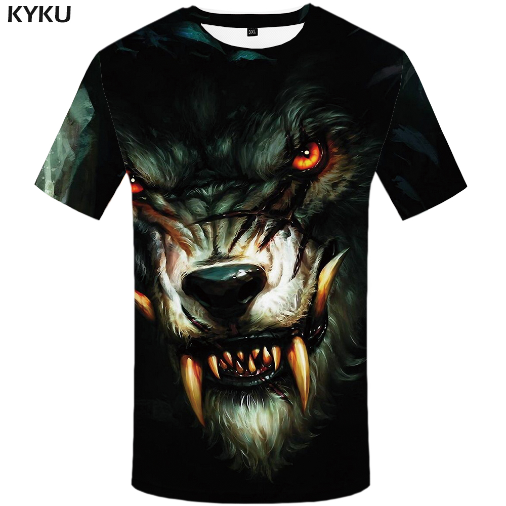 KYKU Wolf T Shirt Men Fangs Black Tshirt Eye 3d Print T