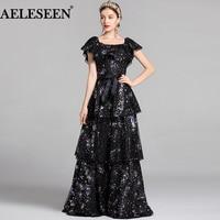 AELESEEN Luxury XXL Dress 2018 Women Runway Fashion Cloak Sleeves Patchwork Star Slash Sequined Cascading Ruffles Designer Dress