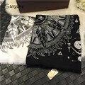 Pintados a mano de Graffiti primavera 100*180 cm Bufandas bufanda del mantón de las mujeres con bolsas de niña de algodón de Playa Femenino estolas chales hijab D124