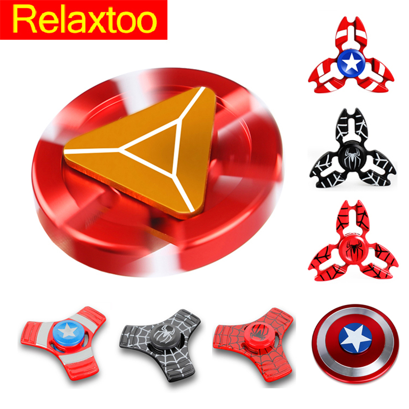 11 Styles Hero Metal Fidget Spinner Hand Newest Iron Man Finger Spiner Spider Man Tri-spinner Adult Kid Child Relax Round Toy tri blade hand fidget spinner focus toy
