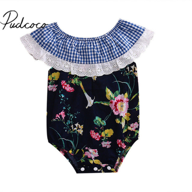 09c0dce87 2017 Summer Newborn Baby Girl Floral Romper Striped Printed Jumpsuit ...