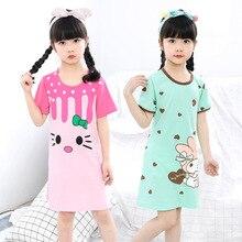 Хлопок рубашка маленьких подростков пижамы для девочек платья Детская Летнее платье с героями мультфильмов Ночная Рубашка домашняя одежда дети gecelik пижамы