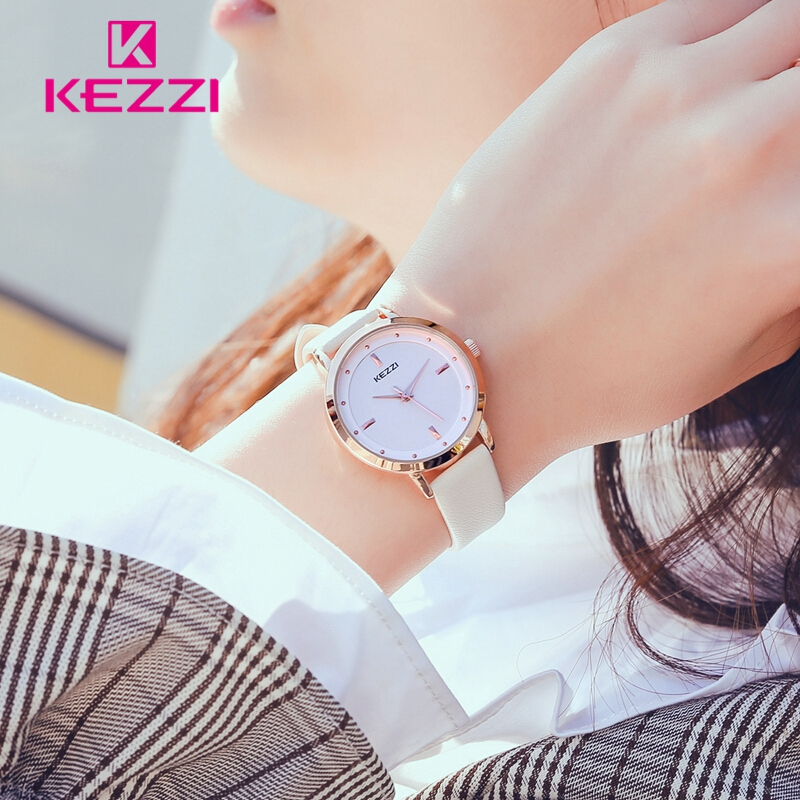 KEZZI Women Watches Top Brand White Watch Women Leather Fashion Ladies Waterproof Quartz bayan saatleri Luxury Gold Clock 2018 cartoon gold horse print blue leather strap sports ladies quartz watch relojes hombre 2017 bayan saat women watches hodinky b133