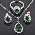Water Drop Green Stone Top AAA+ Cubic Zirconia Silver Jewelry Sets Necklace Pendant Earrings Rings Free Shipping JS0127