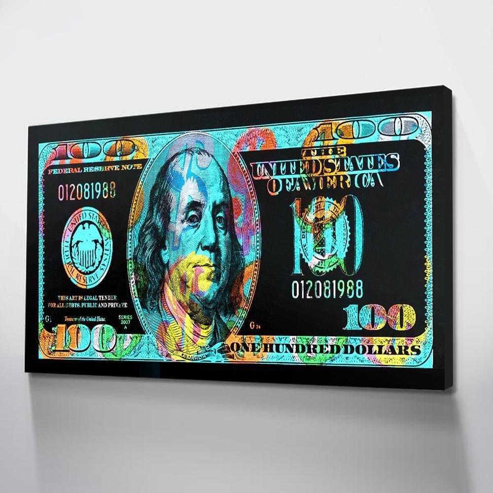 Dólares posters impressão colorida lona posters arte da parede fotos para o quarto quadros da arte da lona dinheiro transporte da gota