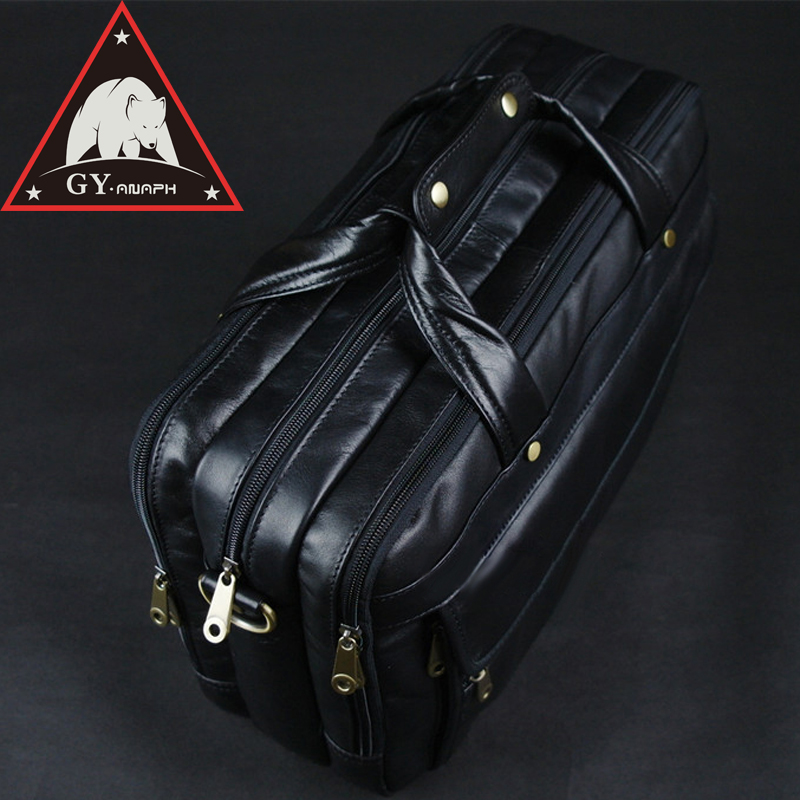 ANAPH Man Work Bags Full Grain Leather Business Briefcases For Men Black Tote Bag Fit 15 Inch Laptop Large Capacity Top Quality anaph 15 inch laptop briefcase men office work bags brown real cow leather top quality tote bag man double zippers open