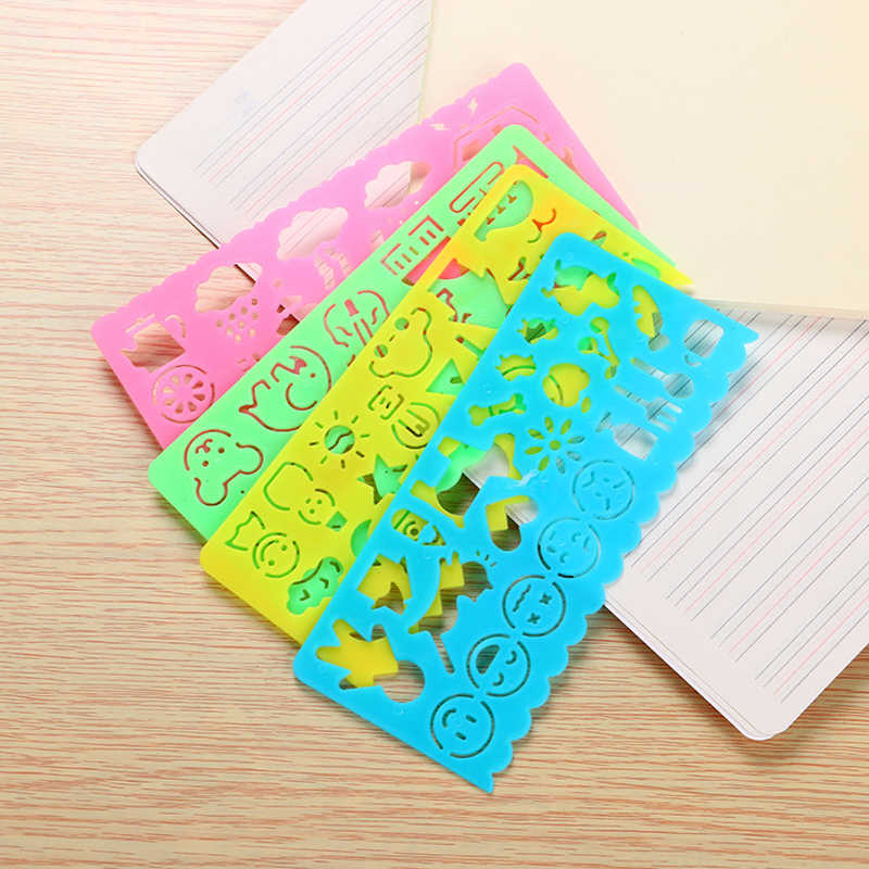 4 Pcs Children's educational multi-function Variety ruler Creative Student Stationery Cute drawing Ruler Painting Toy Children's