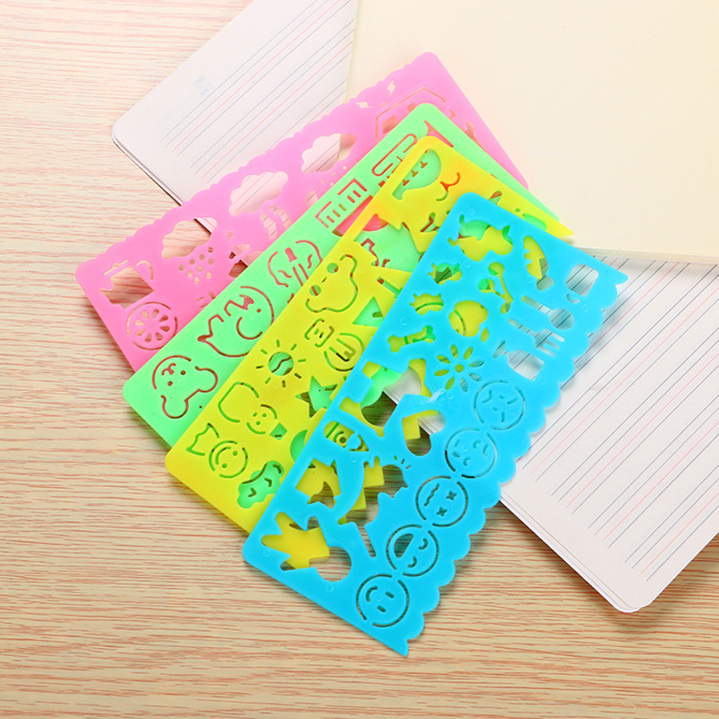 Ruler Painting Toy Stationery Creative Cute 4 Pcs Children Student Drawing Board > 3 Years Old Plastic Is Educational