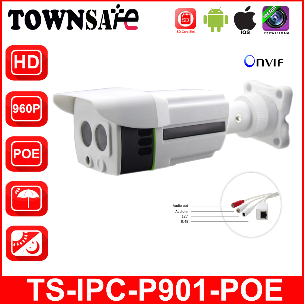 TOWNSAFE hot TS-IPC-P901-POE ONVIF HD 960P 1.3MP Bullet IP Camera POE Built-in Outdoor IP66 H.264 IR P2P with SD Card Slot P2P bullet camera tube camera headset holder with varied size in diameter