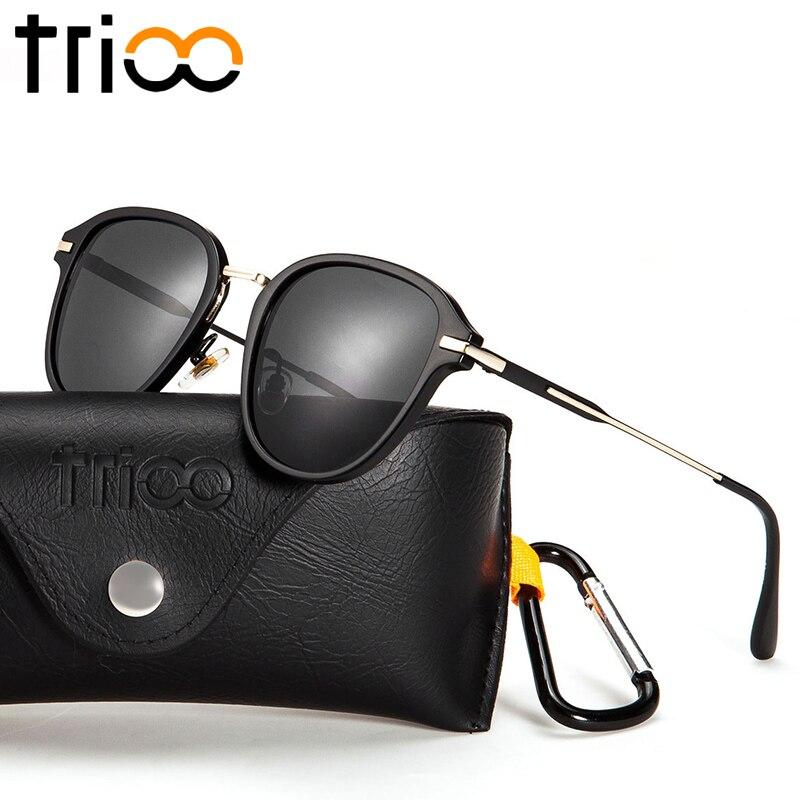 TRIOO 2017 Quality Men Sunglasses Oval font b Fashion b font Shape Shades Silver Mirror Lens