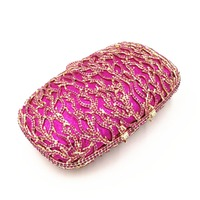 green/hot pink/champagne color Rhinestones Women Handbags Chain dress Shoulder Bags Metal Day Clutches Purse Wedding Wallets