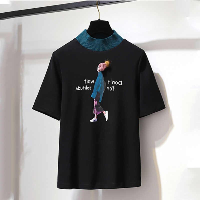 2019 Летняя женская белая черная футболка с круглым вырезом и коротким рукавом, длинная многослойная юбка с неровным краем, милый комплект из двух предметов для девочек
