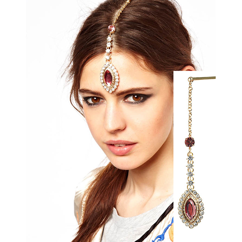 OMENG Crystal Rhinestone Pendant High Forehead Women Indian Hair Bands Flower Hair Pins Ethnic Jewelry Accessories OFS030